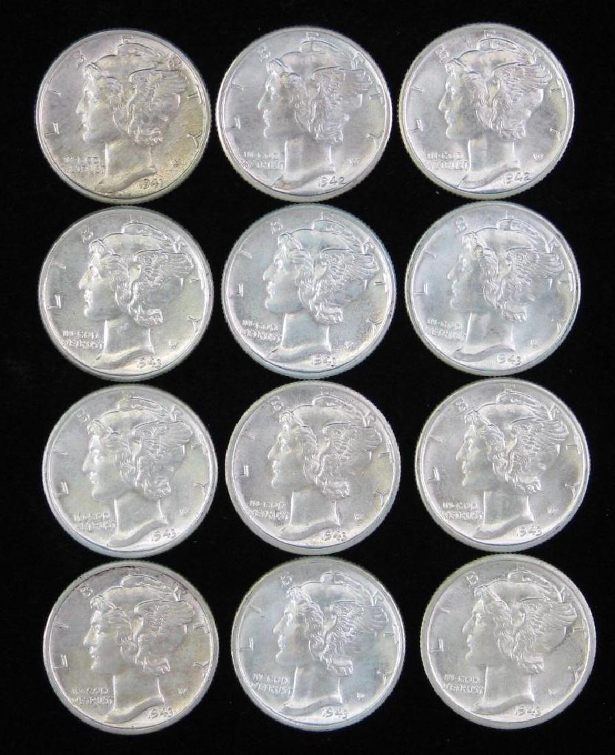 Lot of 12 Mercury Dimes (1941-1943)