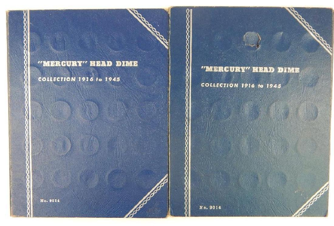Lot of 2 Coin Folders : Mercury Head Dime Collections