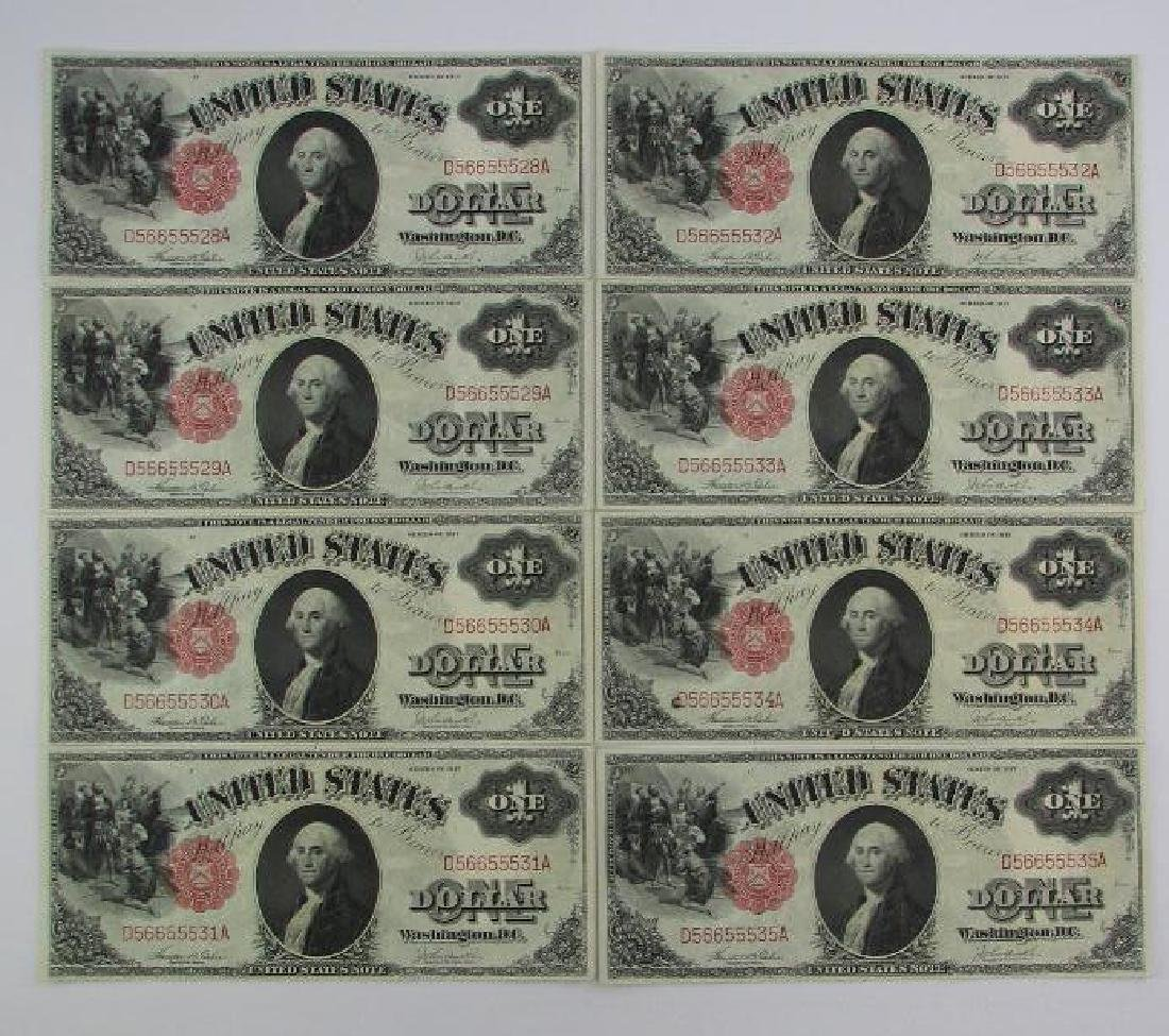 Lot of 8 : 1917 Series of $1 Legal Tender Large Size