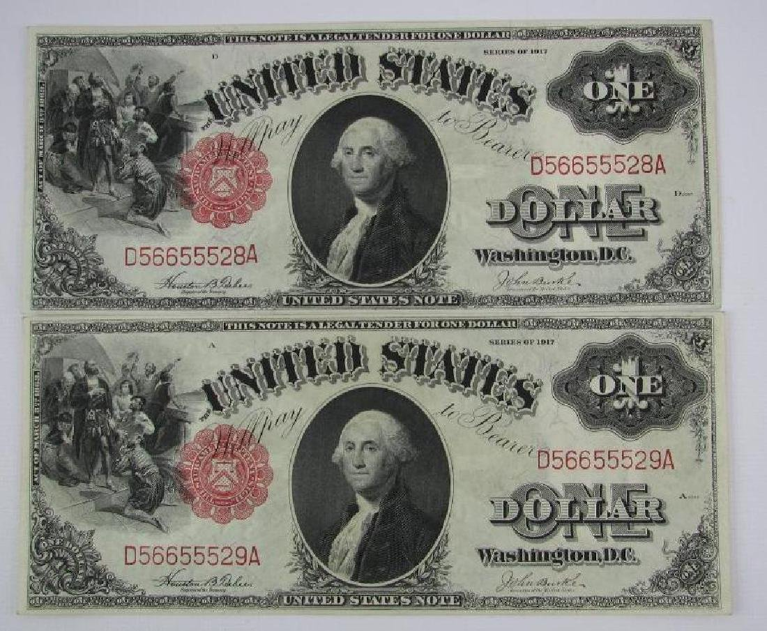 Lot of 8 : 1917 Series of $1 Legal Tender Large Size - 2