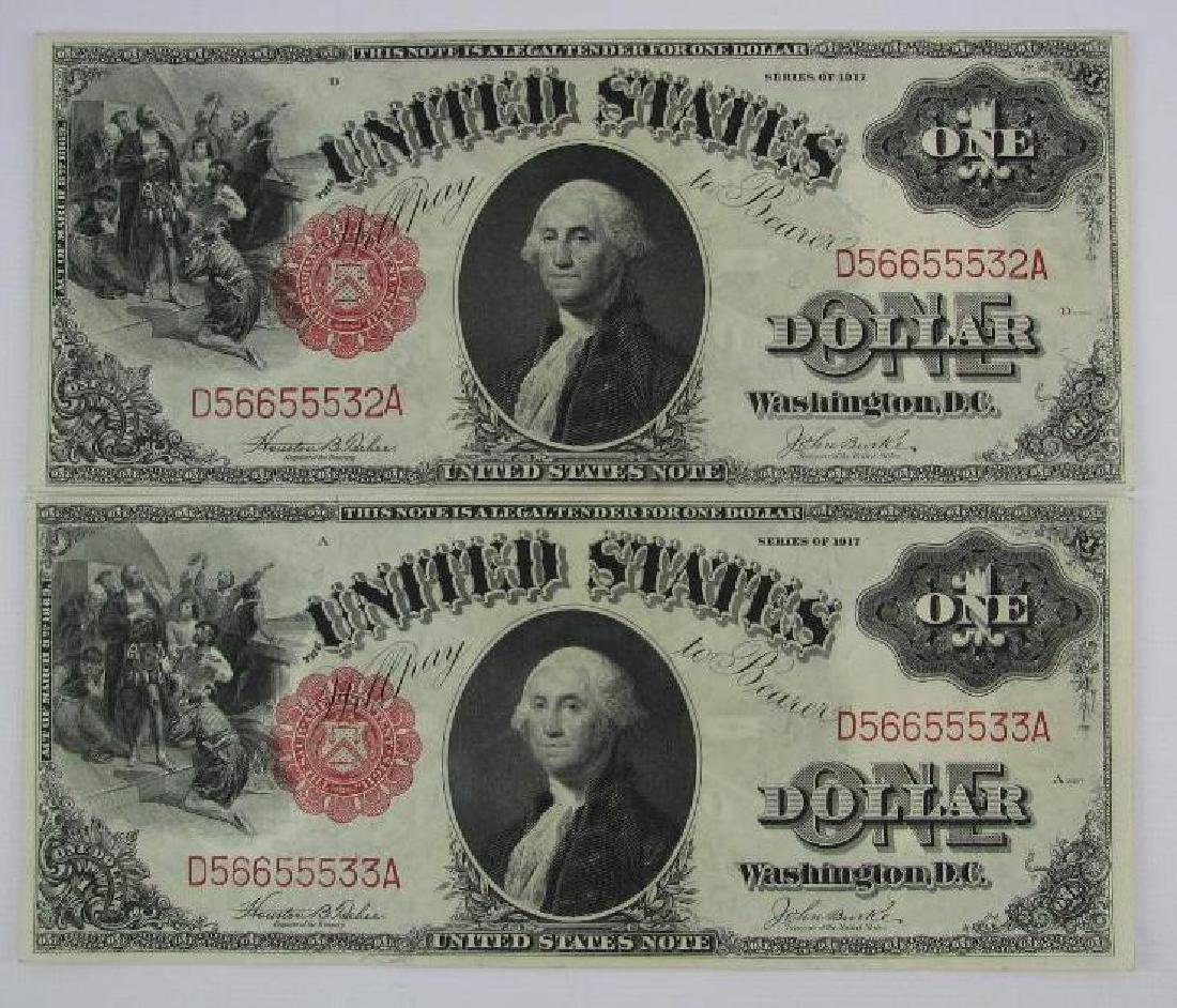 Lot of 8 : 1917 Series of $1 Legal Tender Large Size - 6