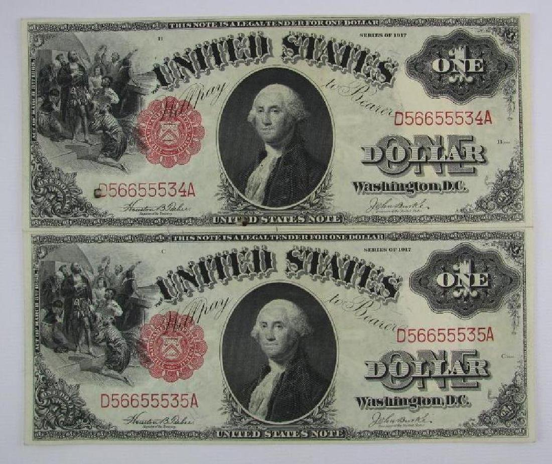 Lot of 8 : 1917 Series of $1 Legal Tender Large Size - 8