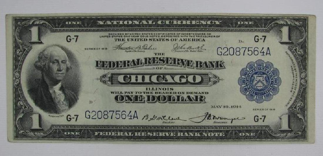 Large Size Note : 1918 Federal Reserve $1 Bank Note :
