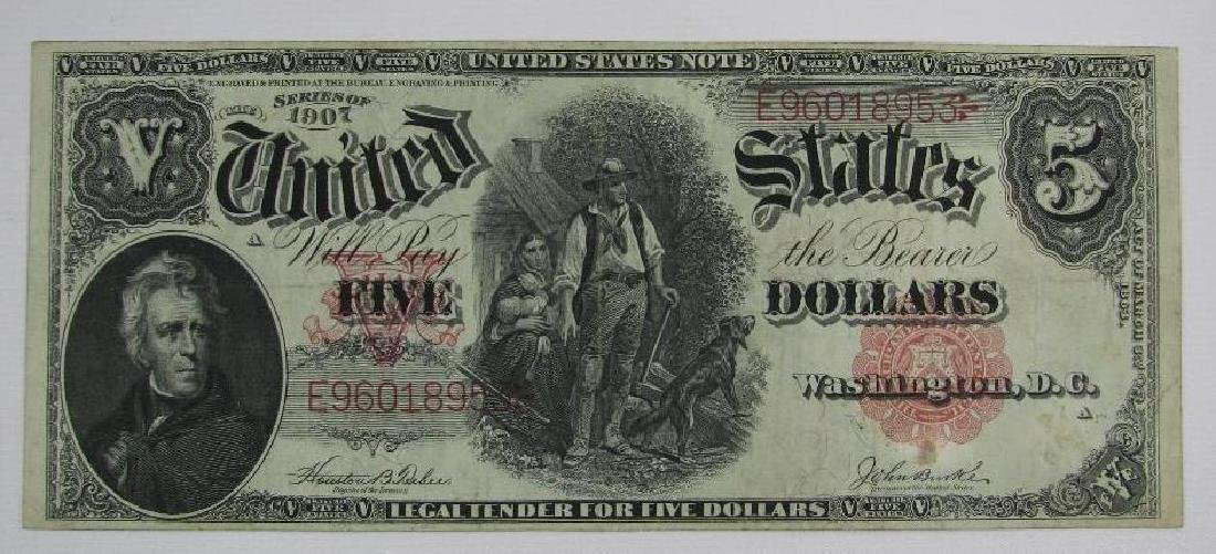 Large Size Note : Series of 1907 $5 Legal Tender Note