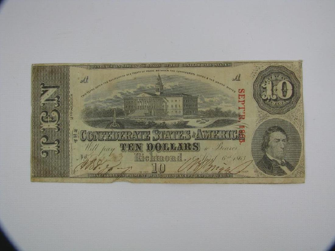 1863 ConfederateÊ$10 Bill : Richmond, Virginia