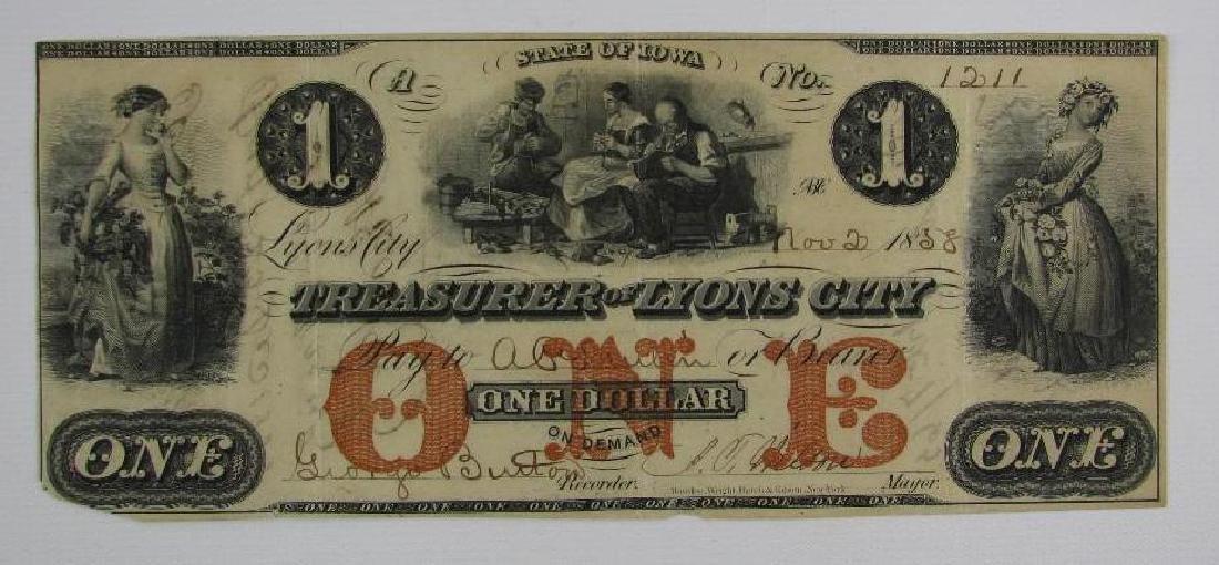 1858 State of Iowa-Treasurer of Lyons City $1 note