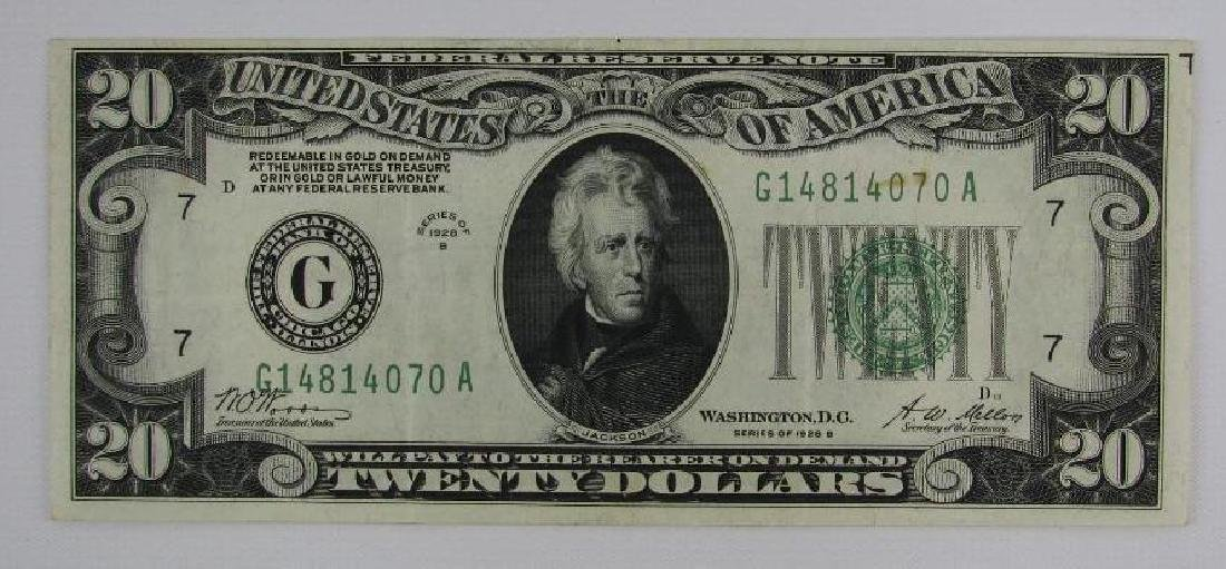 Series of 1928B $20 Federal Reserve Note