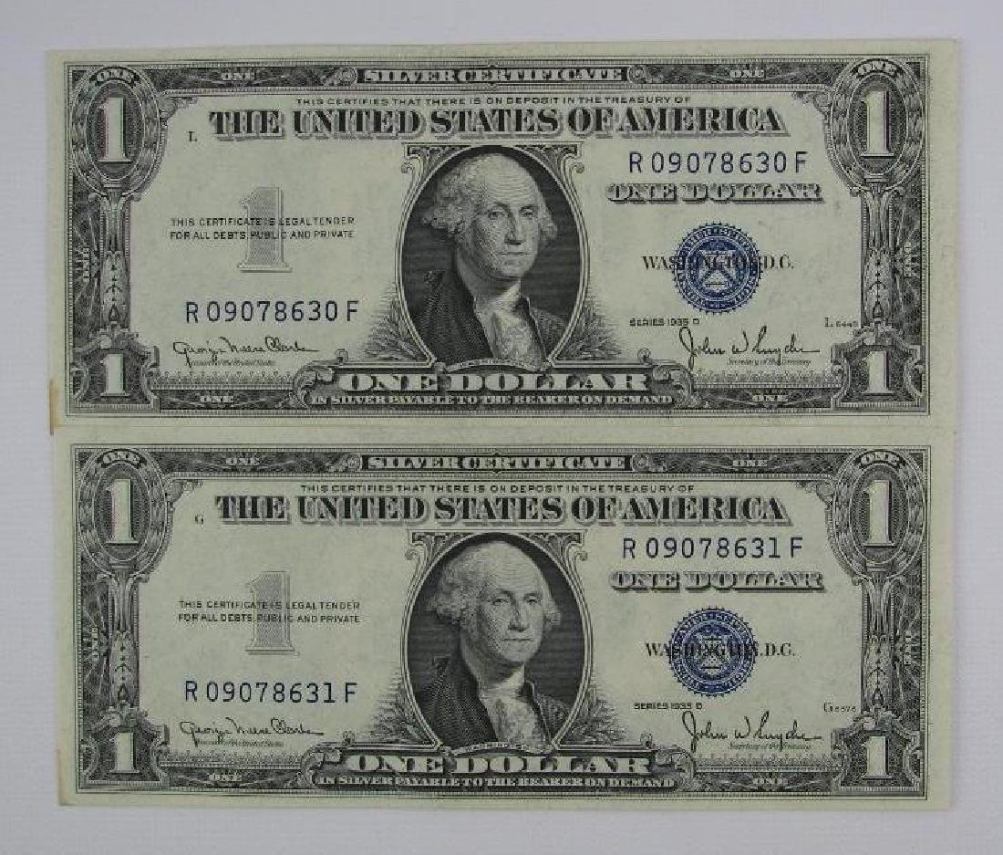 Lot of 2 : Series 1935D $1 Silver Certificates - Change