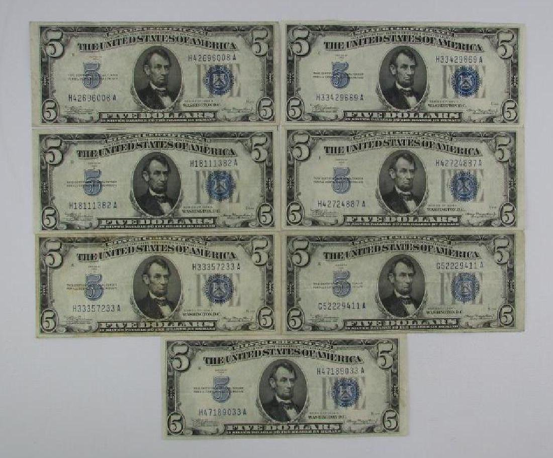 Lot of 7 : Series of 1934A $5 Silver Certificates
