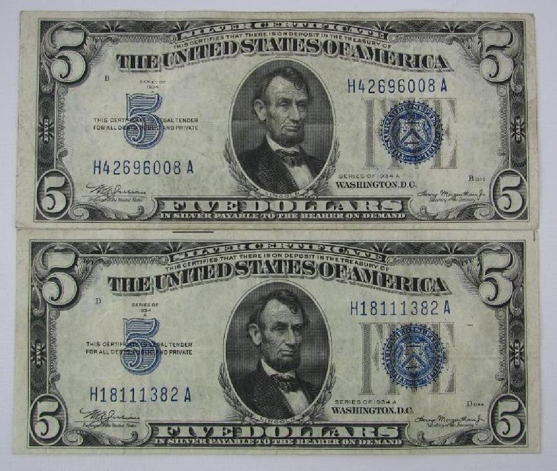 Lot of 7 : Series of 1934A $5 Silver Certificates - 2