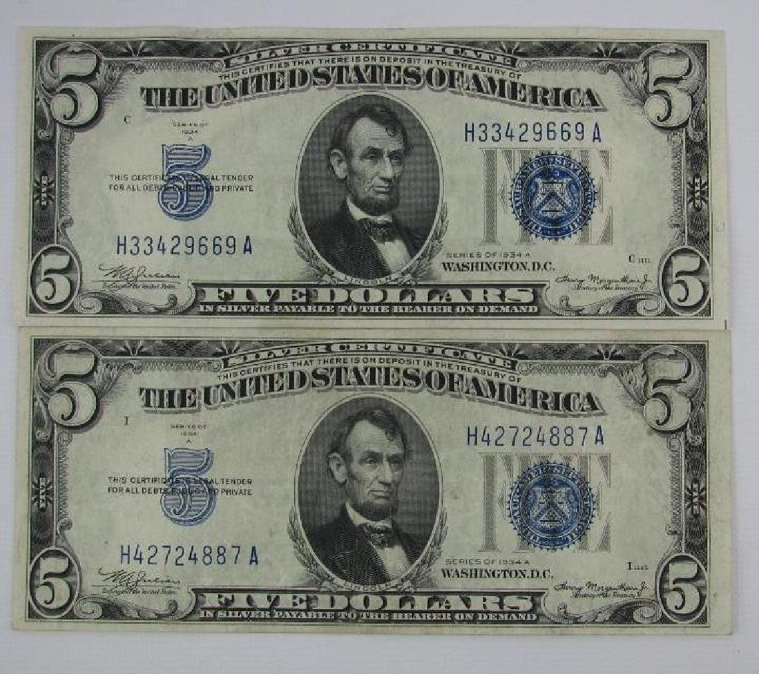 Lot of 7 : Series of 1934A $5 Silver Certificates - 4