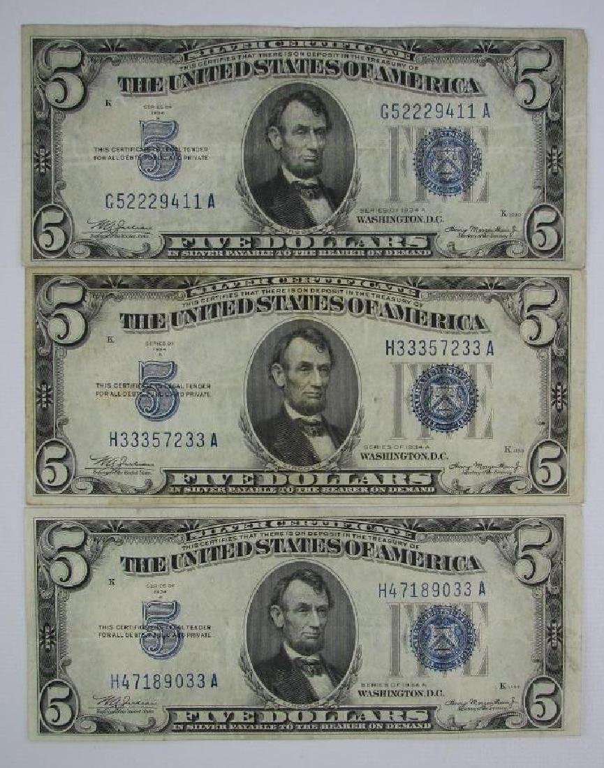Lot of 7 : Series of 1934A $5 Silver Certificates - 6