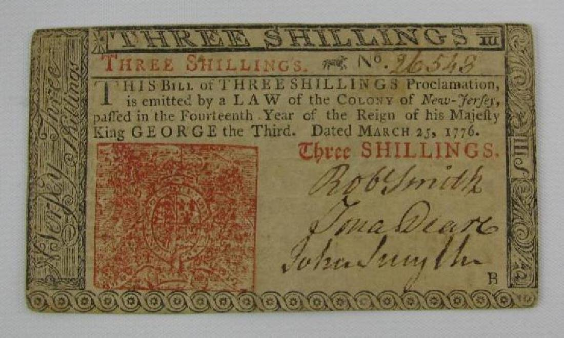 Colonial Currency : 3 Shilling Note from New Jersey -