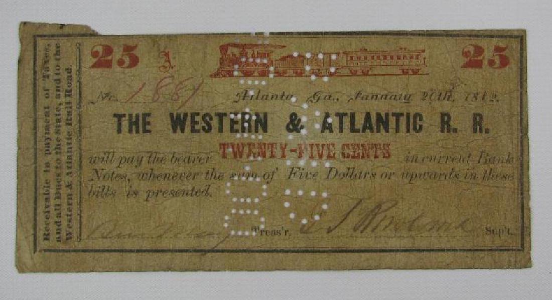 "1862 Western Atlantic Rail Road ""Currency"""