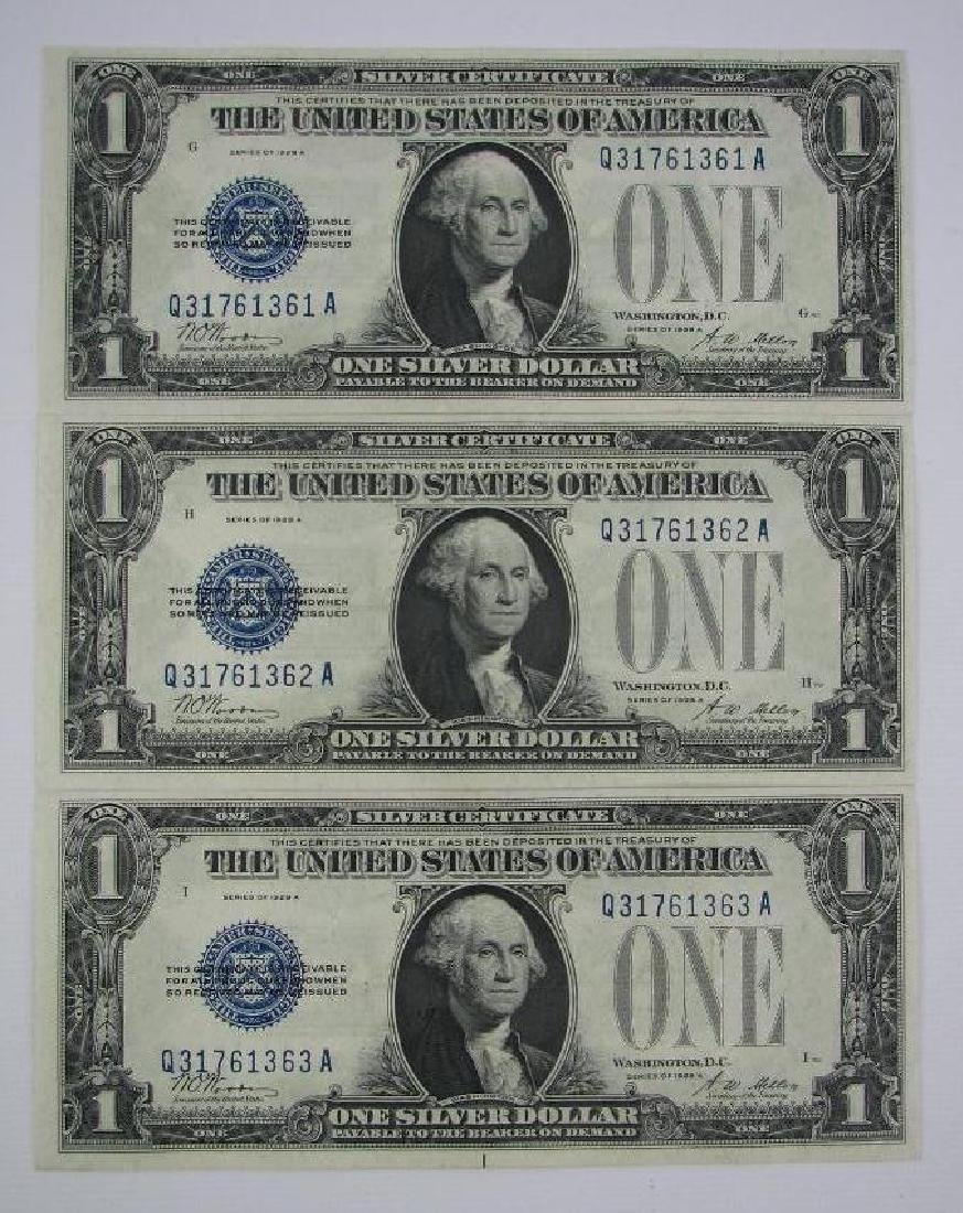 Lot of 3 : Series 1928A Silver Certificates -