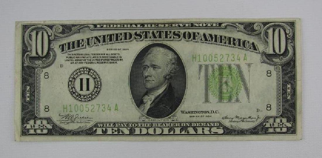 Series of 1934 $10 Federal Reserve Note - Green Seal