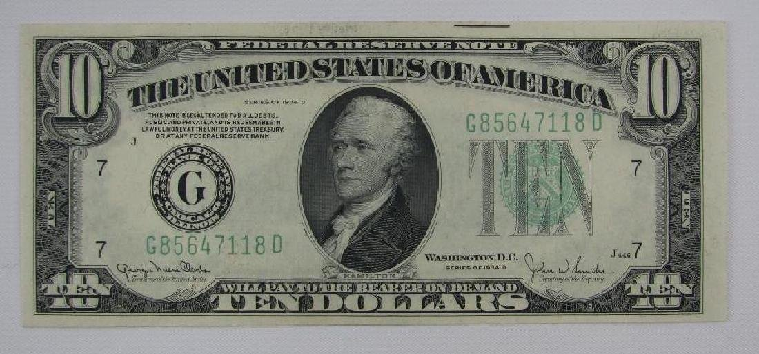 Series of 1934D $10 Federal Reserve Note - Green Seal