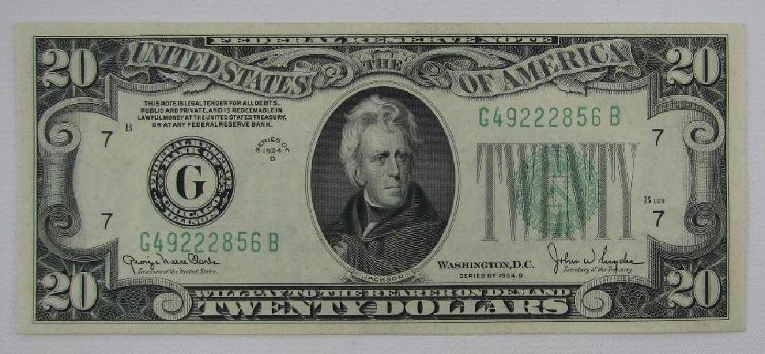 Series of 1934D $20 Federal Reserve Note - Green Seal