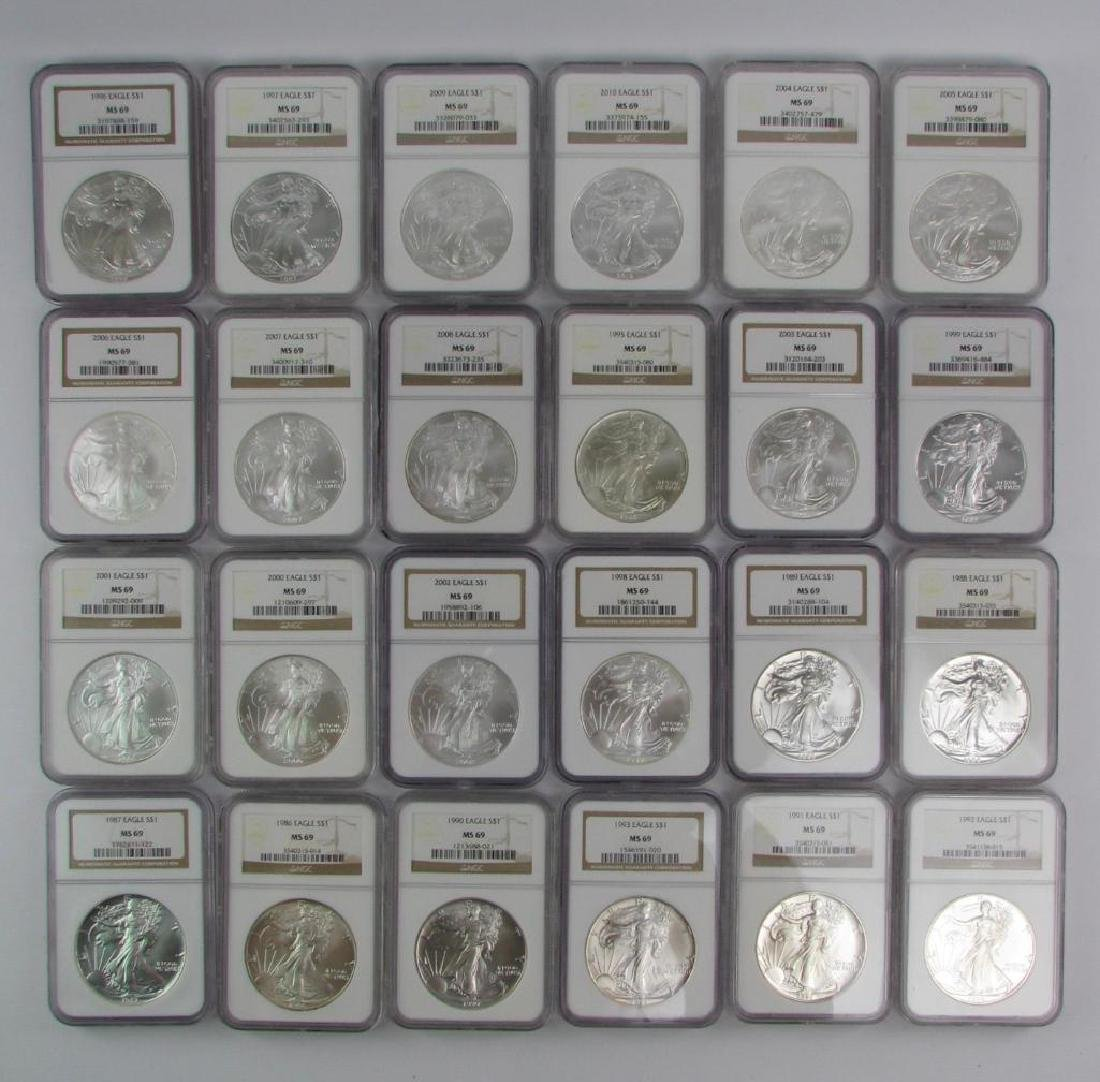 Lot of 24 : American Silver Eagles 1986-2010