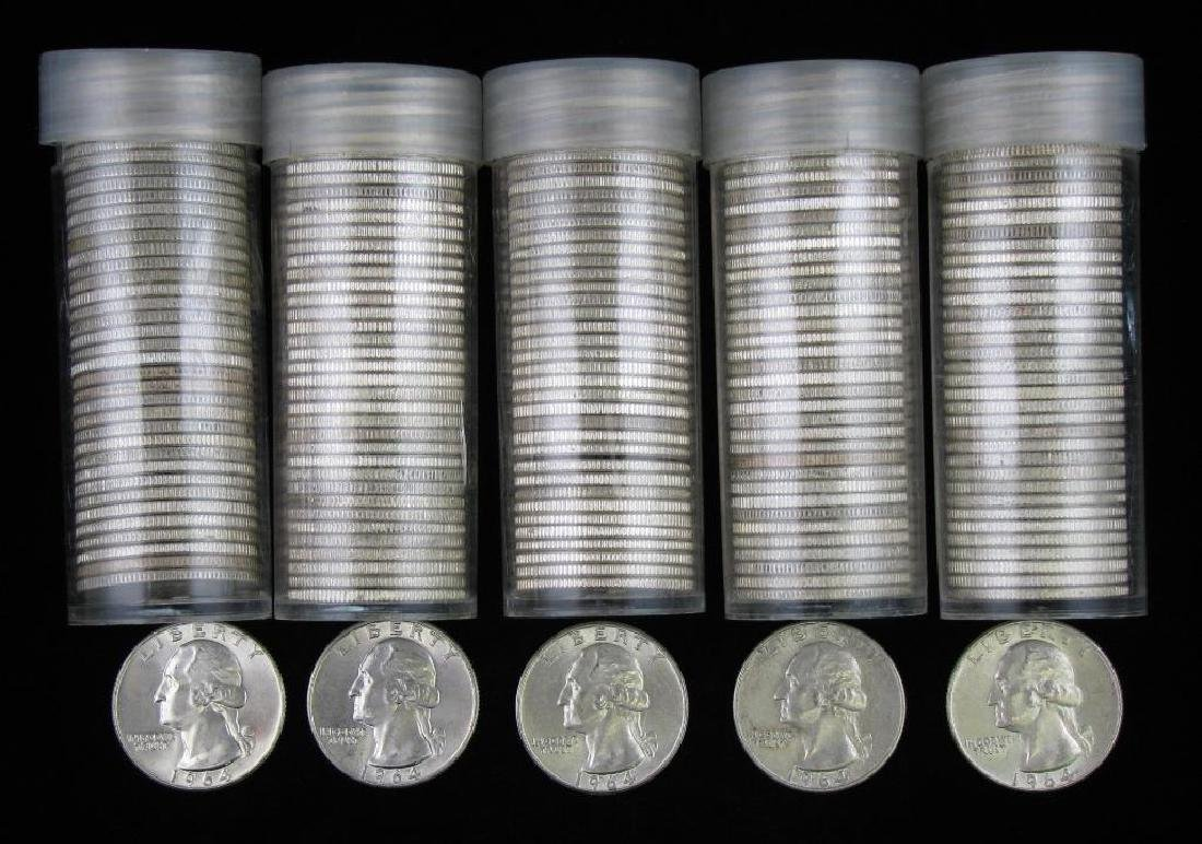 Lot of 5 Rolls : Washington Quarters 1964-P and 1964-D