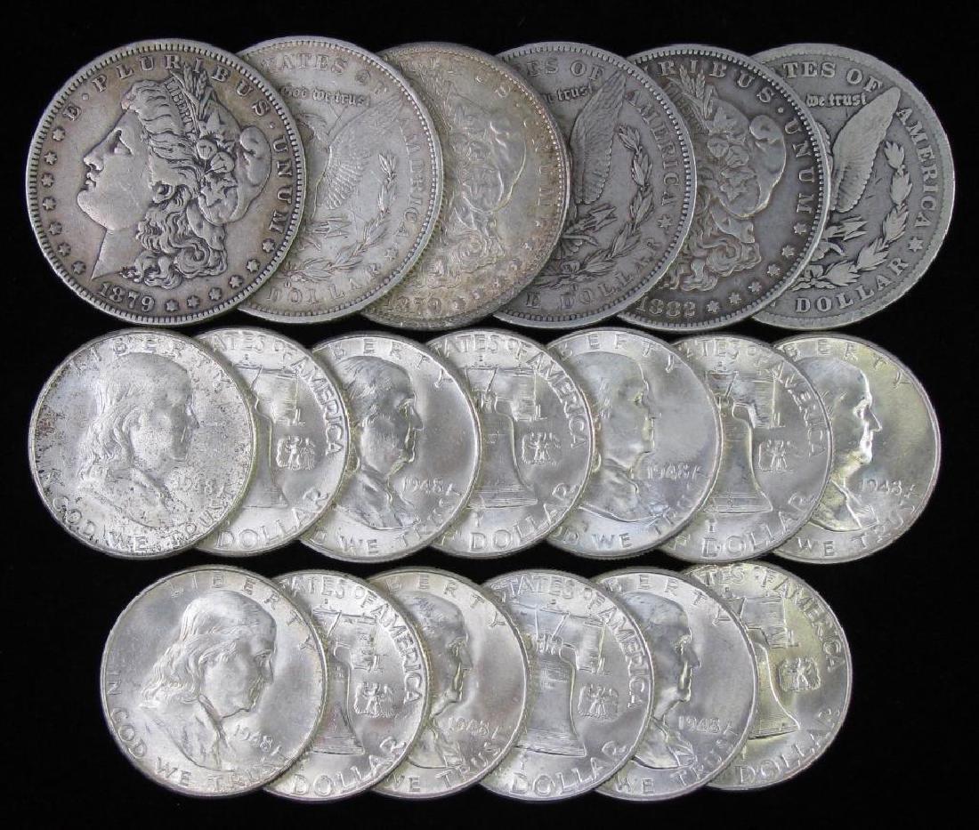 Lot of Morgan Dollars and Franklin Half Dollars