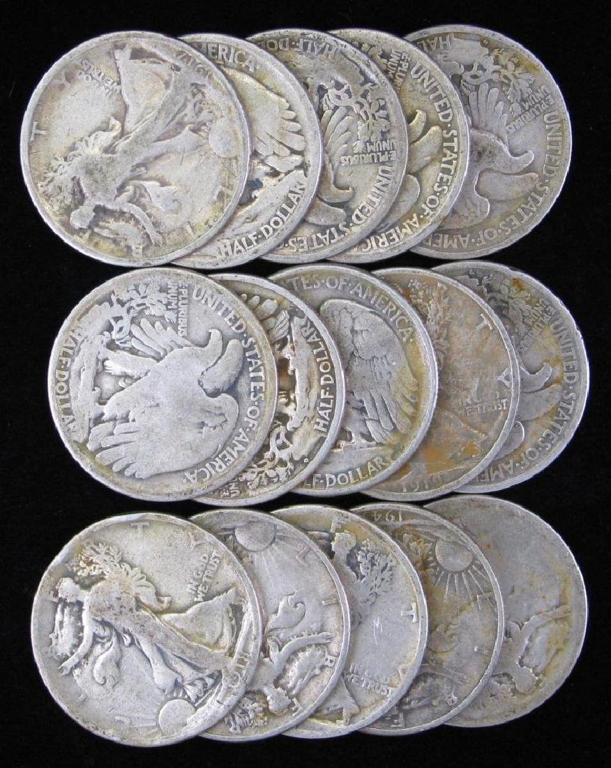 Lot of 15 : Walking Liberty Half Dollars (1917-1945)