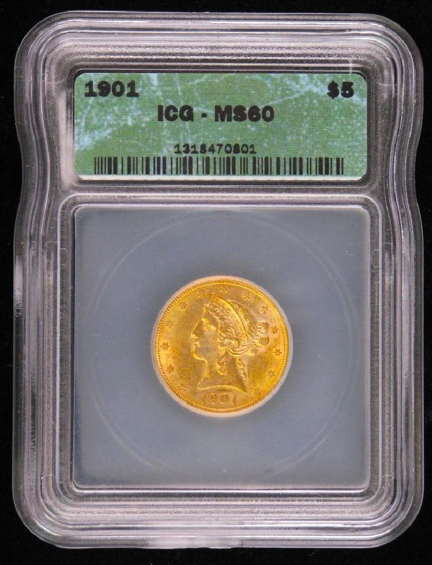 1901 Liberty Head $5 Gold Piece