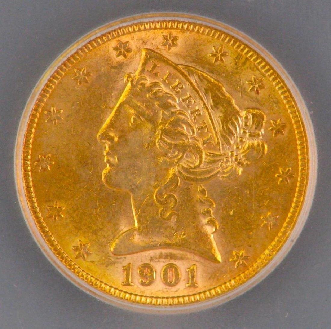 1901 Liberty Head $5 Gold Piece - 3