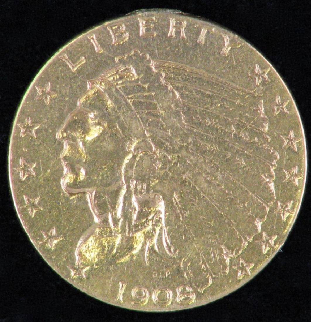 1908-P Indian Head Quarter Eagle