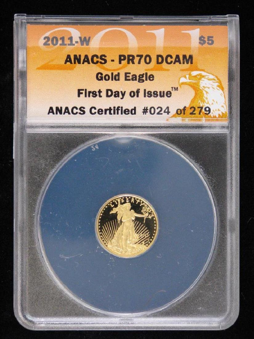 """2011-W $5 Gold Eagle : """"First Day of Issue"""""""