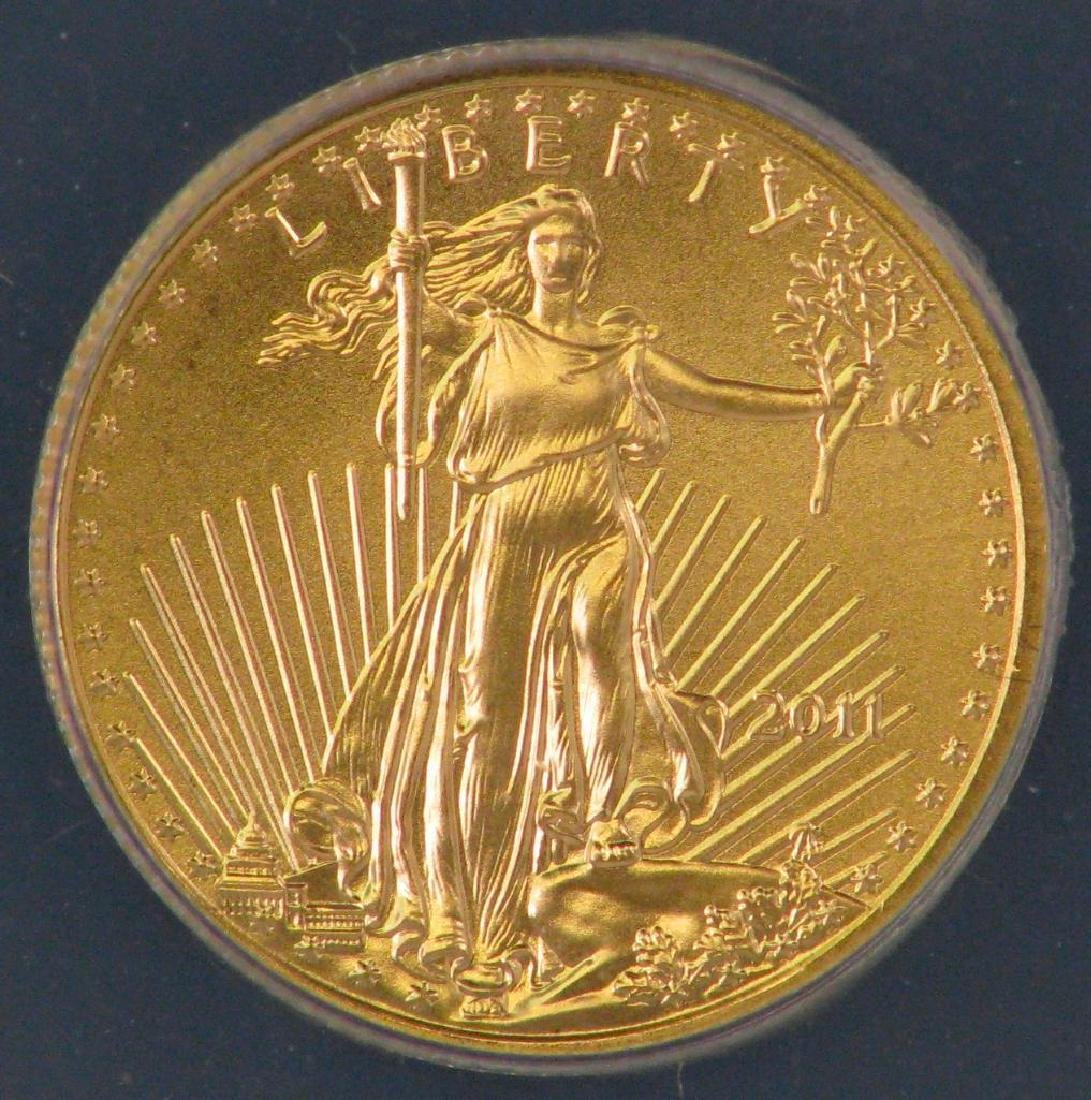 "2011 $5 Gold Eagle : ""25th Anniversary"" ""First Day of - 3"