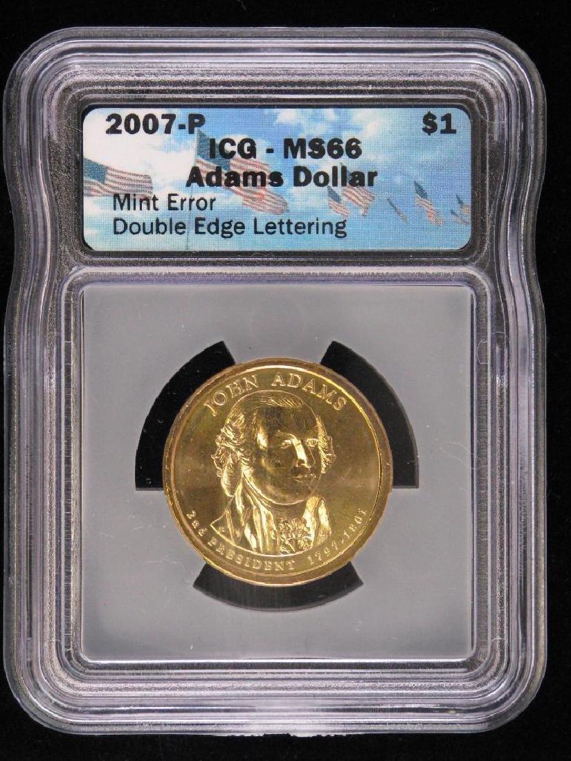 2007-P Presidential Dollar : John Adams - Mint Error