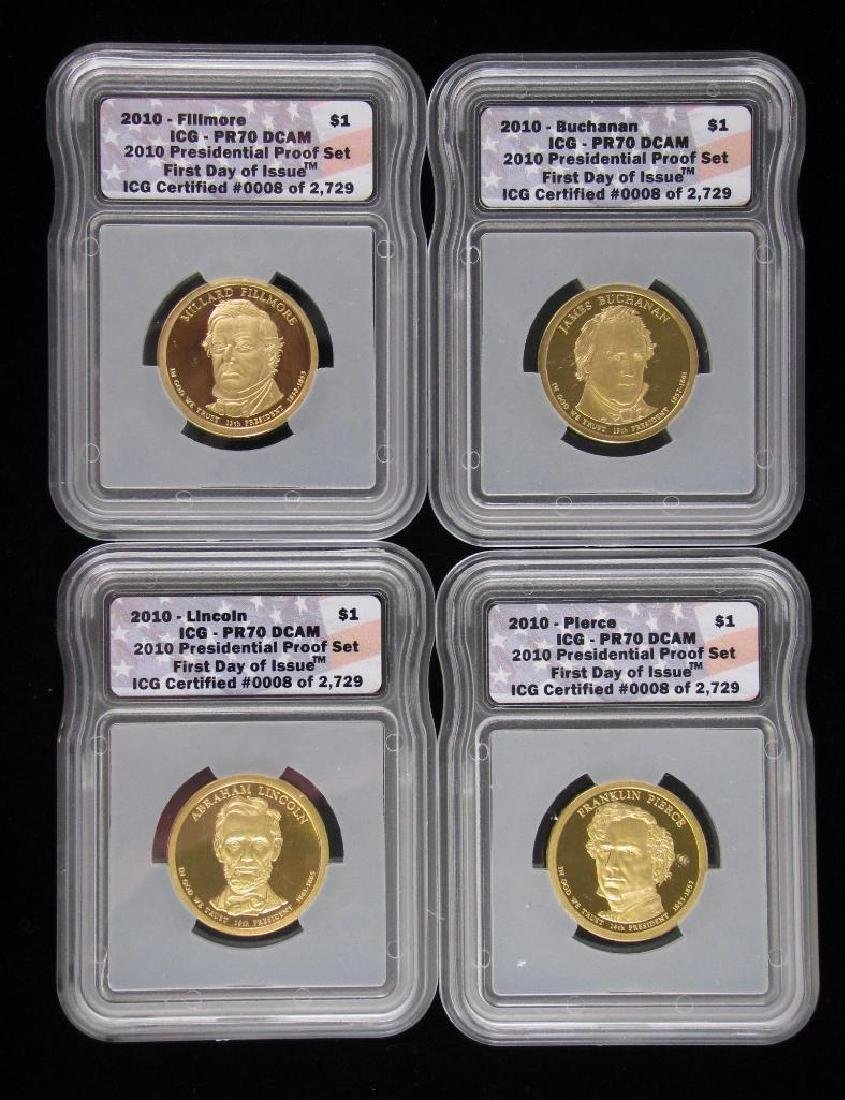 """Lot of 4 Coins : 2010 Presidential Proof Set """"First Day"""