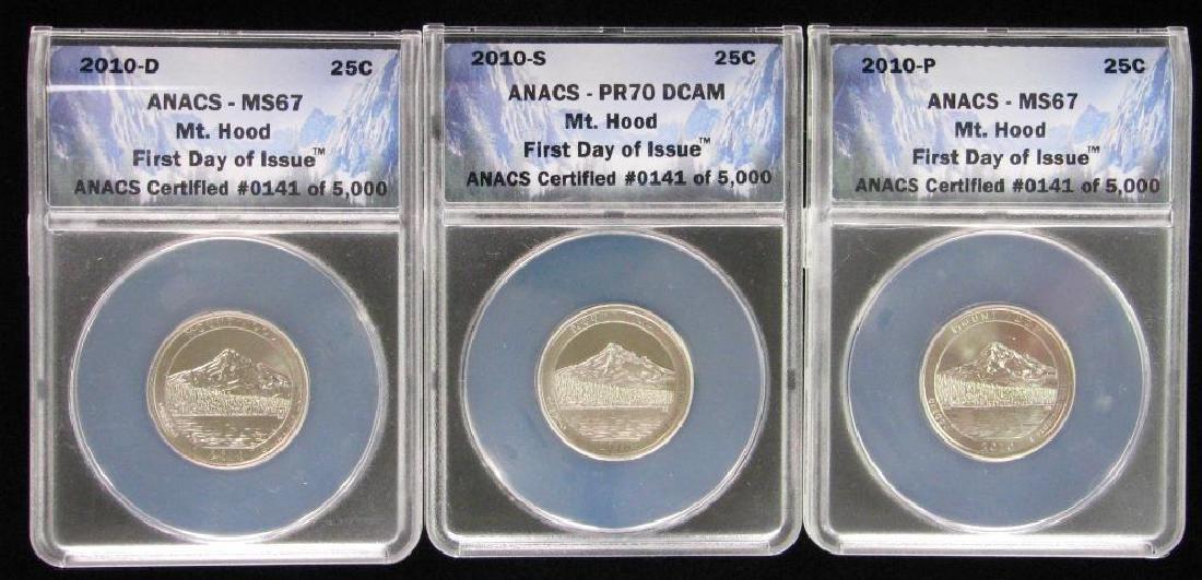 Lot of 3 : 2010 Commemorative Quarters - Mt. Hood,