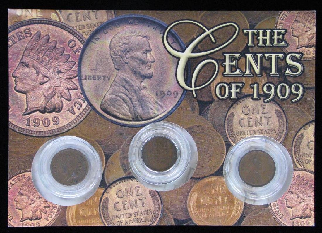 """Lot of 3 Coins : """"The Cents of 1909"""""""
