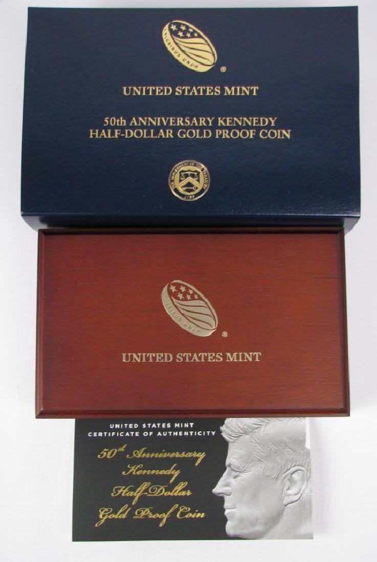 50th Anniversary Kennedy Half Dollar Gold Proof Coin - 4