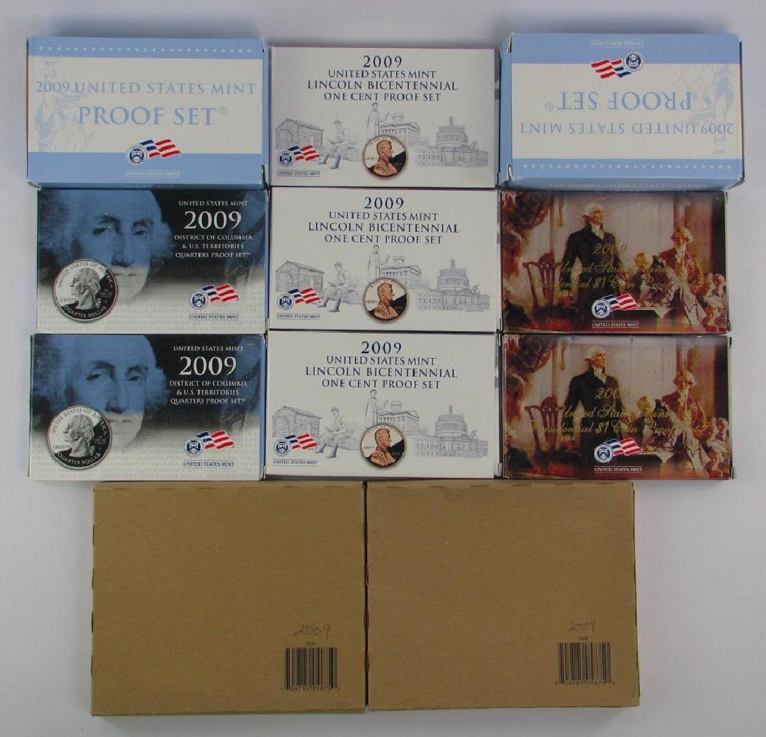 Lot of 11 Boxes : 2009-S Proof Sets + Uncirculated Coin