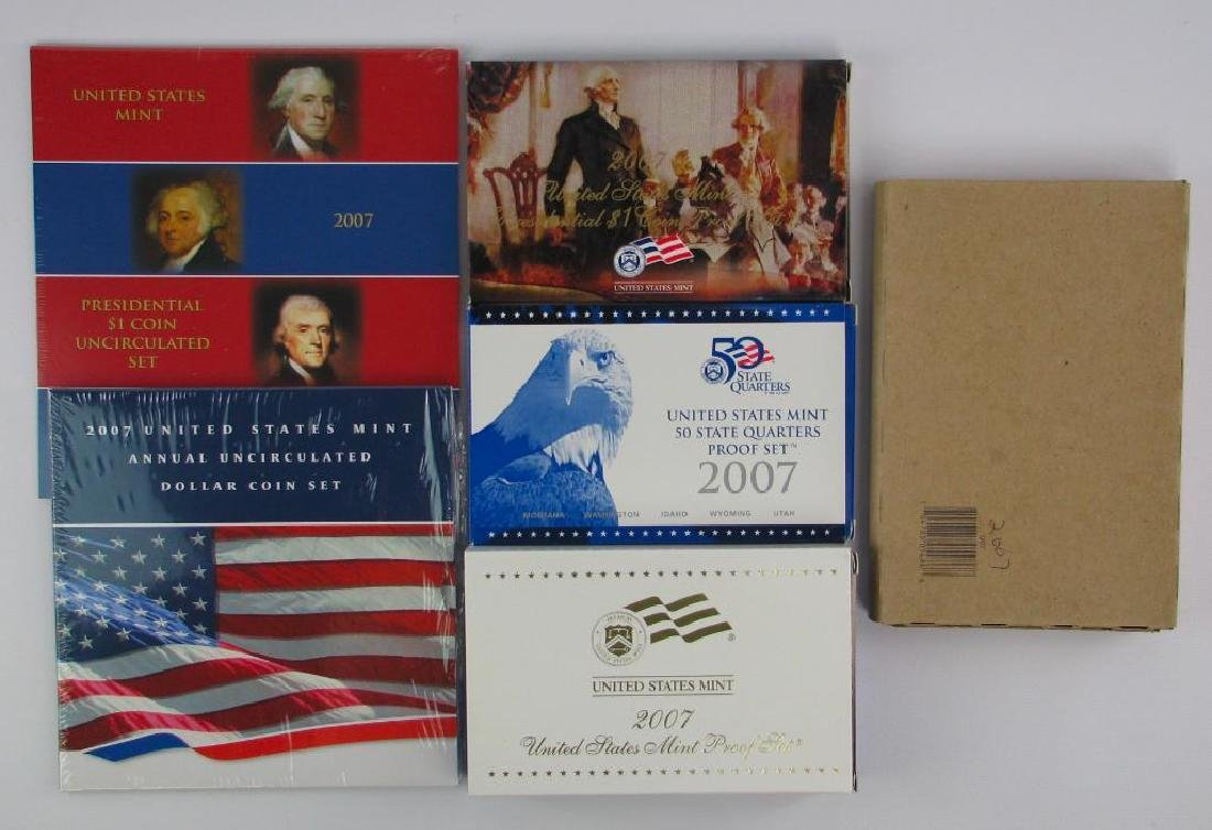 Lot of 6 : 2007 Proof Sets + Uncirculated Coin Sets