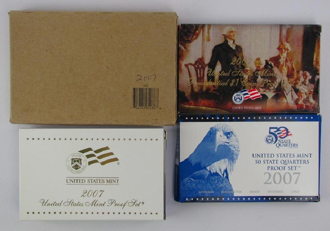 Lot of 4 : 2007 Proof Sets + Uncirculated Coin Sets