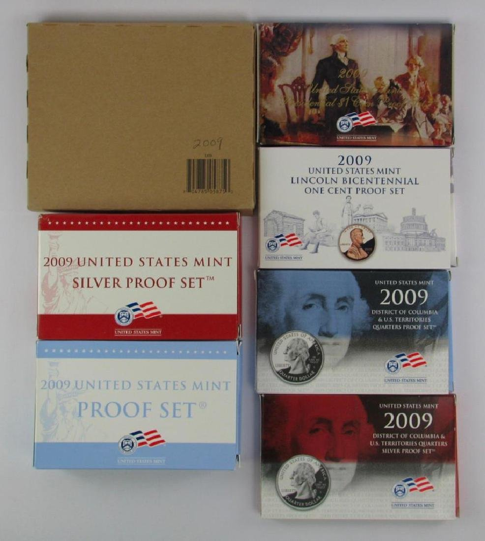 Lot of 7 : 2009 Proof Sets + Uncirculated Coin Sets