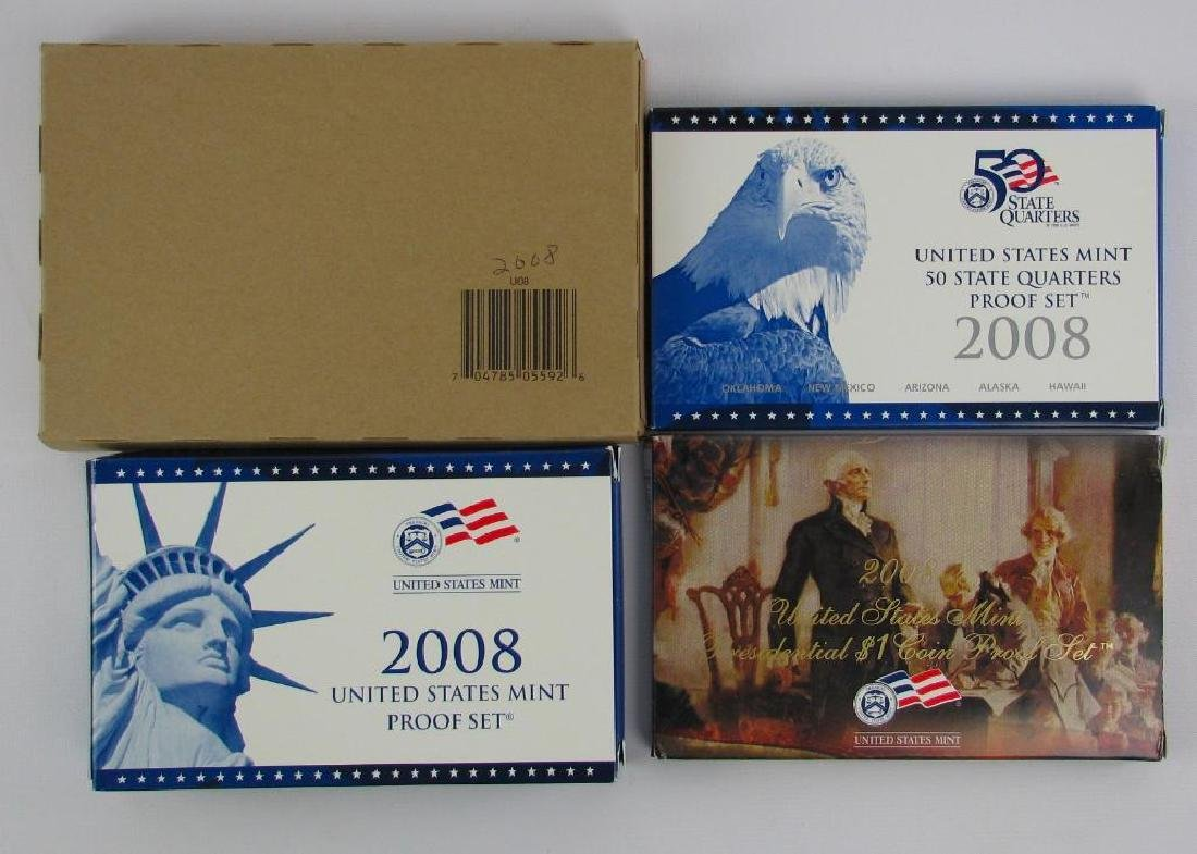 Lot of 4 : 2008 Proof Sets + Uncirculated Coin Sets