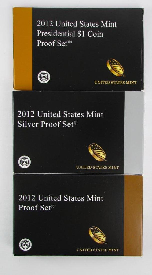 Lot of 3 : 2012 Proof Sets - Silver and $1 Coin