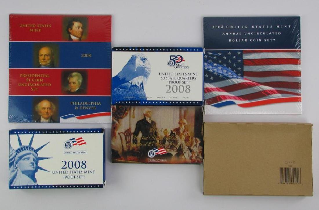 Lot of 6 : 2008 Proof Sets + Uncirculated Coin Sets