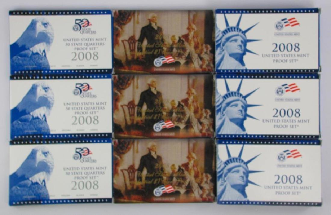 Lot of 9 : 2008 Proof Sets - Presidential $1 Coins,