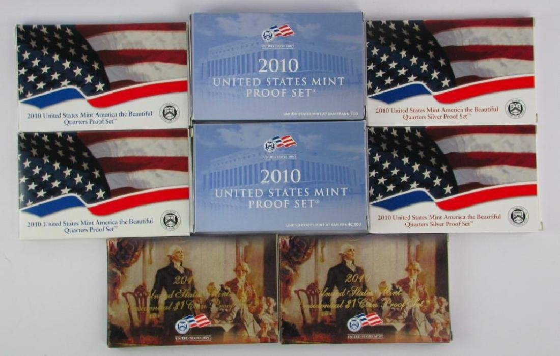 Lot of 8 : 2010 Proof Sets - Presidential $1 Coins,