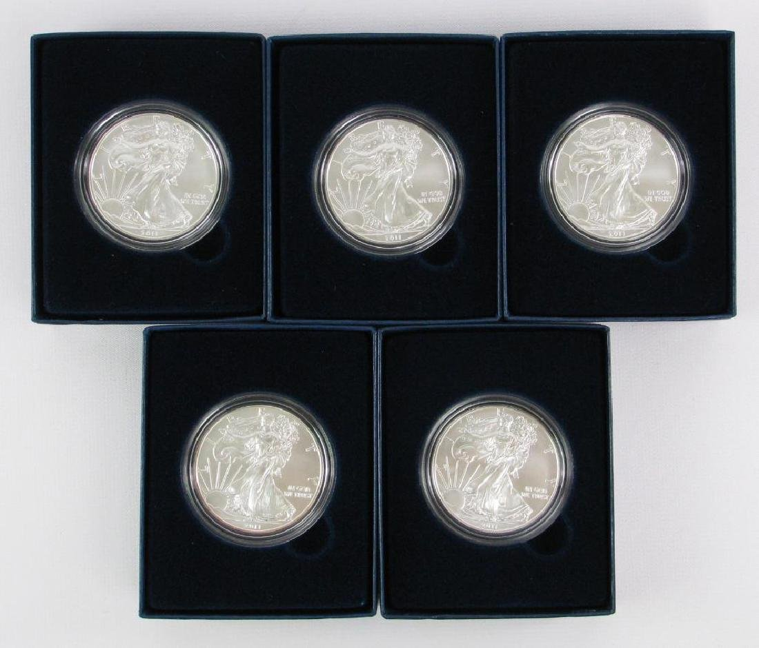 Lot of 5 : 2011-W American Silver Eagle Uncirculated