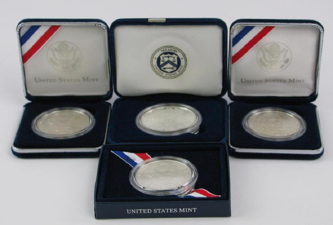 Lot of 4 : Lincoln Commemorative Silver Dollars +
