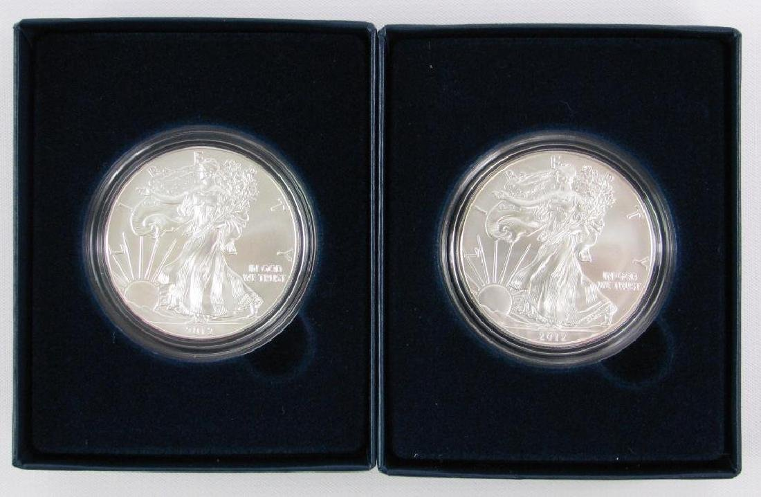 Lot of 2 : 2012-W American Eagle Silver Uncirculated