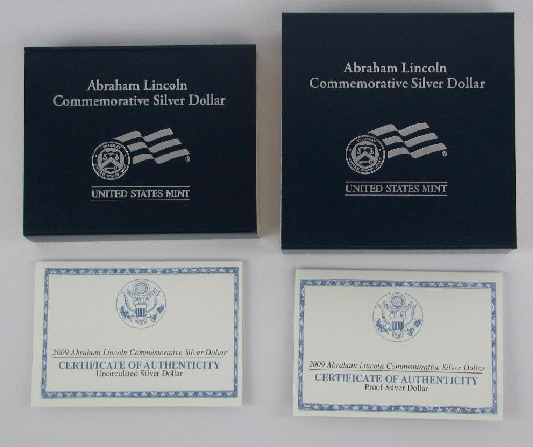 Lot of 2 : Lincoln Commemorative Silver Dollars