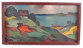 Vintage Oil Painting of Seaside Scene Signed